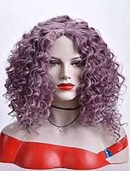 cheap -Synthetic Lace Front Wig Afro Curly Kinky Curly Side Part Free Part Lace Front Wig Short Lavender Synthetic Hair 16 inch Women's Heat Resistant Synthetic Hot Sale Purple
