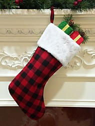 cheap -Christmas Plaid Fabric Sock Gift Bag Christmas Door Hanging Decoration