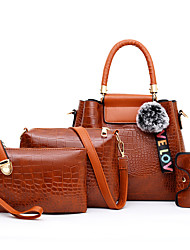 cheap -Women's Embossed PU Bag Set Crocodile 4 Pieces Purse Set Black / Brown / Red