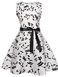 cheap -Kids Girls' Active Sweet Geometric Sleeveless Knee-length Dress Black