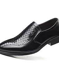 cheap -Men's Comfort Shoes Cowhide Fall Casual Loafers & Slip-Ons Wear Proof Black / Party & Evening