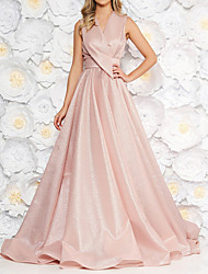 cheap -A-Line V Neck Court Train Satin Elegant / Pink Prom / Formal Evening Dress with Criss Cross / Pleats 2020