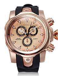 cheap -Men's Sport Watch Japanese Quartz Silicone Black Chronograph Creative New Design Analog Outdoor New Arrival - Black Golden+Black Rose Gold Two Years Battery Life
