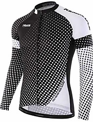 cheap -21Grams Men's Long Sleeve Cycling Jersey Winter Fleece 100% Polyester Black / White Bike Jersey Top Mountain Bike MTB Road Bike Cycling Thermal / Warm UV Resistant Breathable Sports Clothing Apparel