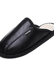 cheap -Men's Comfort Shoes PU Winter Casual Slippers & Flip-Flops Walking Shoes Warm Black / Brown / Gray