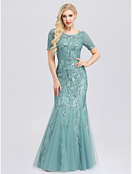 cheap -Mermaid / Trumpet Jewel Neck Sweep / Brush Train Polyester / Nylon / Sequined See Through / Elegant Formal Evening Dress 2020 with Sequin