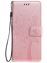 cheap -Case For OnePlus 7 Nokia 7.1 Phone Case PU Leather Material Embossed Cat and Tree Pattern Solid Color Phone Case