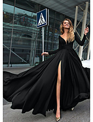 cheap -A-Line Empire Minimalist Holiday Formal Evening Dress V Neck Long Sleeve Floor Length Chiffon with Split Front 2020