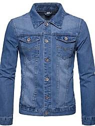 cheap -Men's Daily Fall & Winter Regular Denim Jacket, Solid Colored Turndown Long Sleeve Polyester Light Blue / Blue