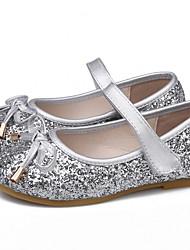 cheap -Girls' Flower Girl Shoes PU Flats Little Kids(4-7ys) Bowknot / Sequin Gold / Silver / Pink Summer