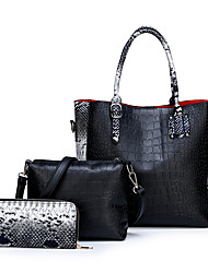 cheap -Women's Zipper PU Bag Set Snakeskin 3 Pcs Purse Set Black / Brown / Red