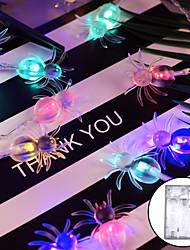 Недорогие -1.2m 10 светодиодные фонари паука Хэллоуин с питанием от батареи для Хэллоуина праздник украшения двора теплый белый зеленый многоцветный белый