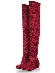 cheap -Women's Boots Over-The-Knee Boots Flat Heel Round Toe Suede Over The Knee Boots Fall & Winter Black / Brown / Leopard