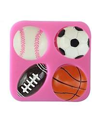 cheap -4 Cavity Football Basketball Tennis Shape Silicone Mold Fondant Cake Decoration Kithen Bake Tools