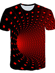 cheap -Men's Going out Club Basic / Street chic T-shirt - Geometric / Color Block / 3D Print Black
