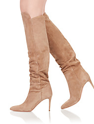 cheap -Women's Boots Knee High Boots Stiletto Heel Pointed Toe Suede Knee High Boots British / Minimalism Spring &  Fall / Winter Black / Light Brown