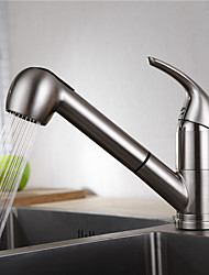 cheap -Kitchen faucet - Single Handle One Hole Nickel Brushed Pull-out / Pull-down Centerset Contemporary Kitchen Taps