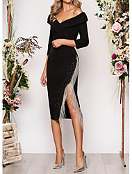 cheap -Sheath / Column Off Shoulder Asymmetrical Polyester Elegant / Black Wedding Guest / Cocktail Party Dress with Tassel / Split 2020
