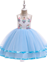 cheap -Unicorn Dress Cosplay Costume Masquerade Girls' Movie Cosplay A-Line Slip Cosplay Halloween Purple / Blue / Pink Dress Halloween Children's Day Masquerade Tulle Poly / Cotton Blend