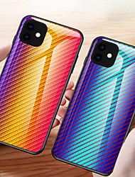 cheap -Carbon Fiber Pattern Gradient Tempered Glass Case For iphone 11 Pro Max / iphone 11 Pro / iphone 11 / XS Max XR X 8 Plus 8 7 Plus 7 6 Plus 6 Phone Cases Cover Silicone Soft TPU Protective Fundas