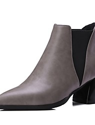 cheap -Women's Boots Chunky Heel Pointed Toe Stitching Lace Faux Leather Booties / Ankle Boots Sweet / Minimalism Walking Shoes Spring &  Fall / Fall & Winter Black / Red / Gray / Color Block