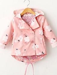 Недорогие -малыш Девочки Активный Цветочный принт С принтом Обычная На пуховой / хлопковой подкладке Розовый