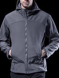 cheap -Men's Hoodie Jacket Hiking Jacket Winter Outdoor Waterproof Windproof Warm Stretchy Jacket Top Softshell Camping / Hiking / Caving Traveling Black / Green / Grey / Khaki