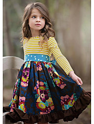 cheap -Kids Girls' Cute Floral Long Sleeve Knee-length Dress Navy Blue / Cotton