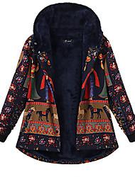 abordables -Femme Quotidien Grandes Tailles Normal Manteau, Géométrique Capuche Manches Longues Polyester Noir / Bleu Marine
