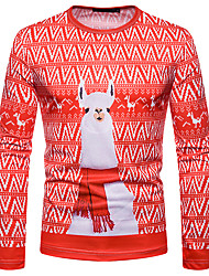 cheap -Reindeer Christmas Dress Adults' Men's Christmas Daily Wear Casual / Daily Christmas Festival / Holiday Red Men's Carnival Costumes Patterned / T-shirt