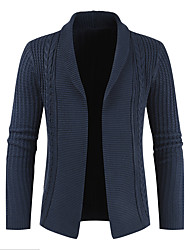 cheap -Men's Solid Colored Cardigan Long Sleeve Sweater Cardigans Shawl Lapel Spring Winter Black Navy Blue Gray