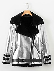 cheap -Women's Daily Regular Leather Jacket, Color Block Turndown Long Sleeve PU Silver
