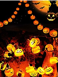 cheap -3m 9.8ft 20 LED Halloween String Lights Outdoor String Lights LED Pumpkin 3D Jack o Lantern Lights for Outdoor Decor Steady Flickering