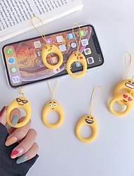 cheap -Cartoon Silicone Finger Ring Pendant Anti-fall Cute Universal Mobile Phone Lanyard Short phone Rope Ring