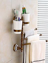 cheap -Towel Bar / Toothbrush Holder Multilayer / Creative / Multifunction Antique / Traditional Brass / Ceramic Bathroom 3-towel bar Wall Mounted
