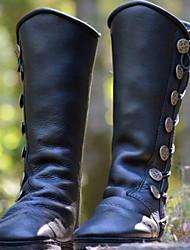 cheap -Women's Boots Flat Heel Round Toe PU Mid-Calf Boots Winter Black / Brown