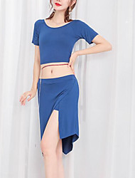 cheap -Belly Dance Outfits Women's Training / Performance Elastane Tiered Short Sleeve Dropped Skirts / Vest