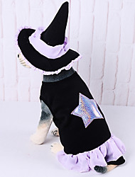 cheap -Dogs Outfits Wizard Hat Winter Dog Clothes Black Halloween Costume Polyster Geometric Holiday S M L