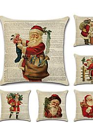 Недорогие -1 штук Лён Наволочка, Рождество Рисунок Традиционный Рождество Бросить подушку