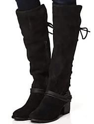 cheap -Women's Boots Knee High Boots Block Heel Round Toe Suede Knee High Boots Fall & Winter Black / Brown / Khaki