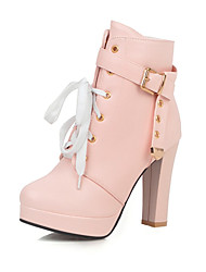 cheap -Women's Boots Chunky Heel Round Toe Buckle Faux Leather Booties / Ankle Boots Casual / Sweet Walking Shoes Spring &  Fall / Fall & Winter Pink / White / Black