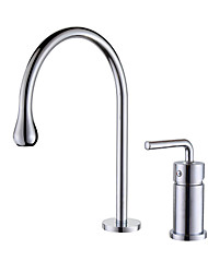 cheap -Kitchen faucet - Single Handle Two Holes Chrome / Oil-rubbed Bronze / Electroplated Standard Spout / Tall / High Arc Widespread Contemporary Kitchen Taps