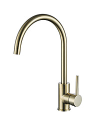 cheap -Single Handle One Hole Brushed Gold Standard Spout Centerset Contemporary Kitchen Taps High Arc