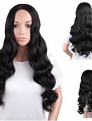 cheap -Synthetic Wig Body Wave Kardashian Free Part Wig Very Long Black#1B Synthetic Hair 28 inch Women's Odor Free Adjustable Heat Resistant Black
