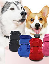 abordables -Animaux de Compagnie Chien Chaussures & Bottes Bottes / Chaussures pour Chien Décontracté / Quotidien Couleur Pleine Pour les animaux domestiques Cuir Noir / Eté / Hiver