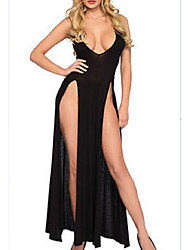 cheap -Women's Split Chemises & Gowns Nightwear Solid Colored Black M L XL
