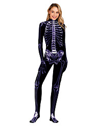 cheap -Skeleton / Skull Zentai Suits Cosplay Costume Adults' Women's One Piece Halloween Halloween Festival / Holiday Polyster Purple Women's Carnival Costumes / Leotard / Onesie / Leotard / Onesie