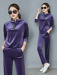 cheap -Women's Tracksuit Sweatsuit Casual Long Sleeve 2pcs Velour Breathable Warm Soft Running Fitness Sportswear Plus Size Athleisure Wear Clothing Suit Black Purple Pink Green Blue Activewear Stretchy