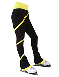 cheap -21Grams Figure Skating Pants Women's Girls' Ice Skating Tights Bottoms Purple Yellow Pink Spandex Stretch Yarn High Elasticity Training Skating Wear Solid Colored Classic Long Pant Ice Skating Figure