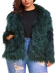 cheap -Women's Daily Basic / Street chic Fall / Winter Plus Size Regular Faux Fur Coat, Solid Colored Collarless Long Sleeve Faux Fur Black / Dusty Rose / Blushing Pink